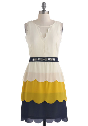 Finch Me, It's a Dream Dress by Ryu - White, Yellow, Blue, Beads, Rhinestones, Scallops, Tiered, Party, Shift, Sleeveless, Vintage Inspired, Mid-length