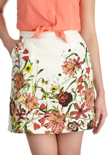 Parchment Painting Skirt by Knitted Dove - Cotton, Short, Red, Yellow, Green, Floral, Pockets, Daytime Party, A-line, Spring, White