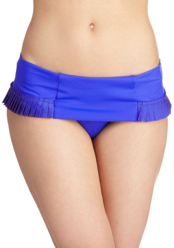 Sunset Sailing Swimsuit Bottom by Seafolly - Blue, Solid, Pleats, International Designer, Beach/Resort, Summer, Nautical