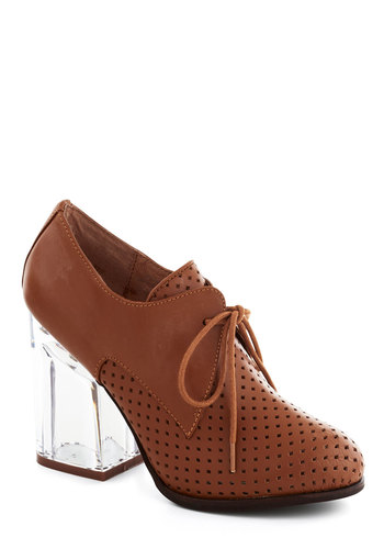Malt Shop Heel in Milk Chocolate by Jeffrey Campbell - Tan, Solid, Cutout, Chunky heel, High, Leather, Work, Menswear Inspired, Vintage Inspired