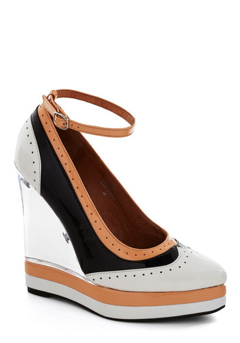 Top of Your Glass Heel by Jeffrey Campbell - White, Solid, Cutout, Wedge, High, Leather, Tan / Cream, Black, Party, Girls Night Out, Colorblocking