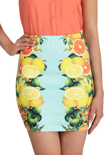Vitamin See and Be Seen Skirt - Multi, Orange, Yellow, Green, Mint, Novelty Print, Daytime Party, Fruits, Mini, Pencil, Beach/Resort, Summer, Short