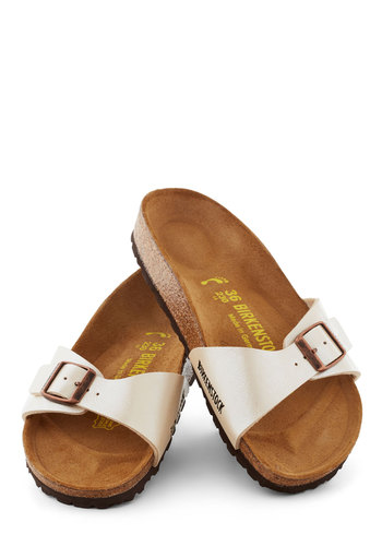 Best Foot Forward Sandal in Pearl by Birkenstock - Flat, White, Summer, Solid, Casual, Boho, Faux Leather, Variation