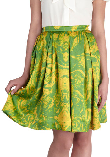 Every Swish Way Skirt - International Designer, Green, Yellow, Print, Pleats, Daytime Party, A-line, Beach/Resort, Mid-length