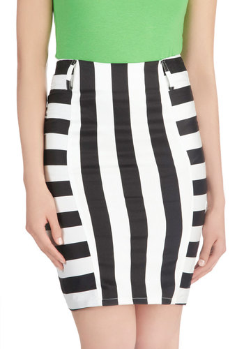 Aesthetically Speaking Skirt - Mid-length, Cotton, Black, Stripes, Party, Pencil, White, Exposed zipper, Girls Night Out, Urban