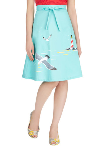 Long Time No Seagull Skirt by Bettie Page - Blue, A-line, Nautical, Cotton, Casual, Beach/Resort, Vintage Inspired, 50s, Summer, Blue, Mid-length