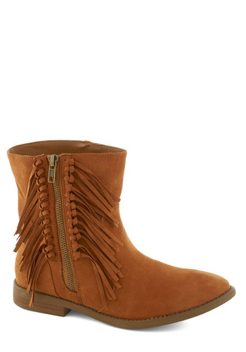 Your Best Fringe Boot - Tan, Solid, Fringed, Boho, Flat, Casual, Vintage Inspired, 70s, Basic, Fall