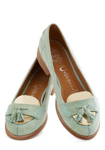Stylish Leader Flat by Jeffrey Campbell - Mint, Solid, Tassels, Menswear Inspired, Low, Leather, Suede