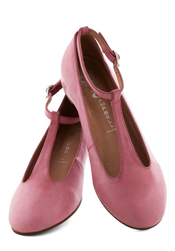 Principal Dancer Flat by Jeffrey Campbell - Pink, Solid, Wedge, Low, Leather, Vintage Inspired, 30s, Travel