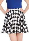 Spell Checker Skirt - Checkered / Gingham, Party, A-line, Short, Multi, Multi