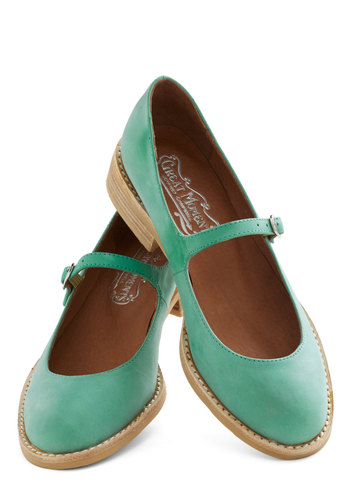 Amuse-mint Park Flat in Spearmint by Jeffrey Campbell - Mint, Solid, Mary Jane, Low, Leather, Work, Casual, Vintage Inspired, Scholastic/Collegiate