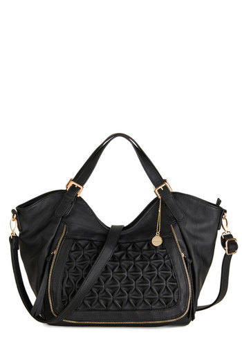In a Pinch Bag - Black, Solid, Exposed zipper, Urban, Quilted, Faux Leather