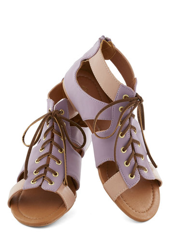 Calliope with Me Sandal - Purple, Tan / Cream, Cutout, Urban, Colorblocking, Flat, Lace Up, Summer, Casual, Faux Leather