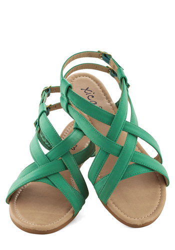 Saunter in the Sand Sandal in Sea - Green, Casual, Flat, Faux Leather, Summer