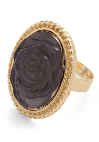 Sterling Rose Ring - Solid, Flower, Purple, Gold, Gold