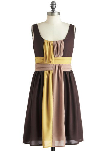 On the Honey Dress - Mid-length, Brown, Yellow, Tan / Cream, Casual, Empire, Tank top (2 thick straps), Daytime Party