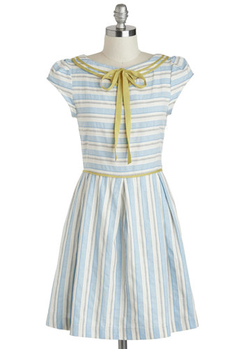 Creamery Cutie Dress by Dear Creatures - Yellow, White, Stripes, Bows, Cutout, Casual, A-line, Cap Sleeves, Crew, Cotton, Mid-length, Spring, Summer, Blue, Pastel