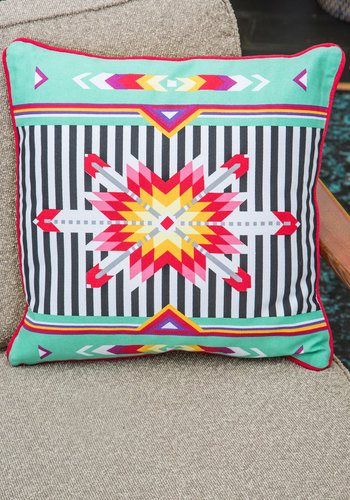 Kaleidoscope of Comfort Pillow - Cotton, Multi, Mint, Folk Art, Good, Boho, Summer