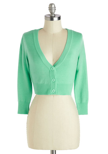 The Dream of the Crop Cardigan in Mint - Short, Mint, Solid, Buttons, Casual, Pastel, Long Sleeve, V Neck
