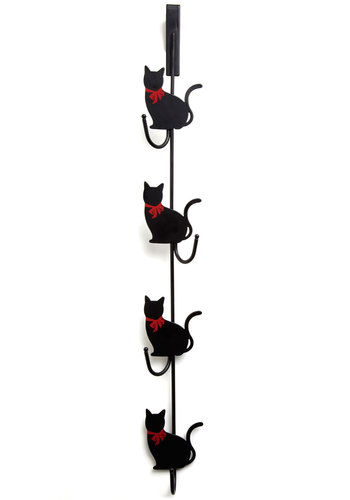 Feline Organized Door Hooks - Black, Dorm Decor, Print with Animals, Cats, Good, Halloween, Gals, Under $20, Critters