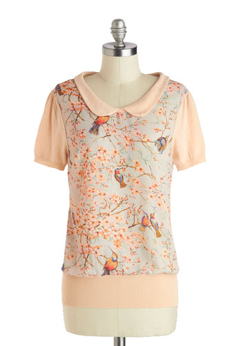 Happily Feather After Top - Tan, Green, Pink, Brown, Print with Animals, Short Sleeves, Mid-length, Work, Fairytale, Spring