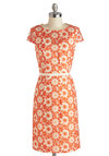 Graceful Gaiety Dress - Mid-length, Orange, White, Floral, Embroidery, Daytime Party, Sheath / Shift, Short Sleeves, Scoop, Wedding