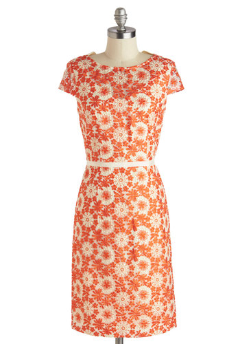 Graceful Gaiety Dress - Mid-length, Orange, White, Floral, Embroidery, Daytime Party, Shift, Short Sleeves, Scoop, Wedding