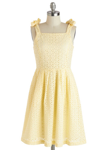 Sunshine Sweetie Dress by Knitted Dove - Yellow, Solid, Eyelet, Casual, Pastel, A-line, Sleeveless, Pockets, Long, Cotton, Summer