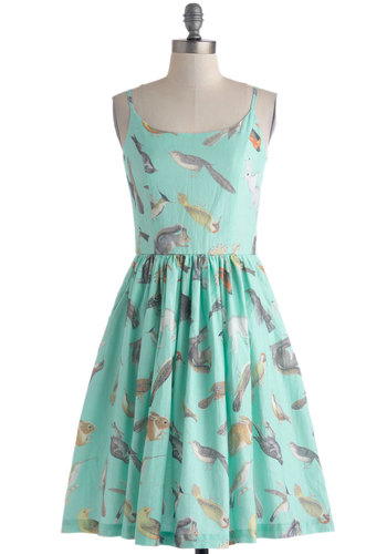Creature of Delight Dress by Knitted Dove - Long, Cotton, Mint, Multi, Print with Animals, Casual, A-line, Spaghetti Straps, Scoop, Pockets