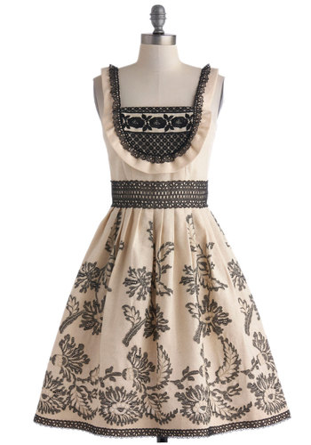 Anna Sui Gown On the Farm Dress - Cream, Embroidery, Eyelet, Trim, Spring, Mid-length, Cotton, Black, Ruffles, Party, Fit & Flare, Sleeveless, Print, Vintage Inspired