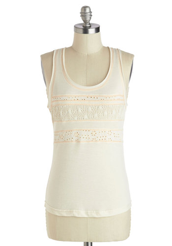 Wait and Sea Top - Cream, Solid, Casual, Tank top (2 thick straps), Mid-length, Summer