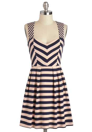 Pattern for the Better Dress - Blue, Pink, Stripes, Cotton, Short, Cutout, Casual, A-line, Sweetheart, Backless, Sleeveless, Chevron
