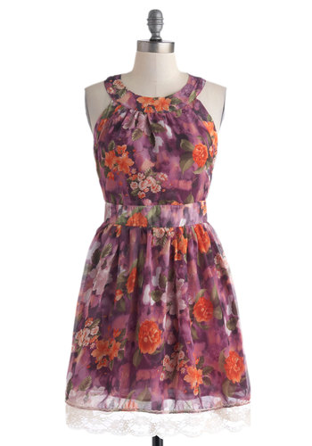 Wing It On Dress in Floral - Short, Purple, Multi, Floral, Backless, Lace, Daytime Party, Graduation, A-line, Sleeveless, Crew
