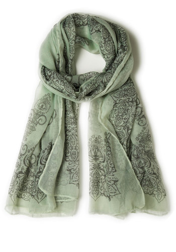 Through the Garden Great Scarf in Sage - Mint, Black, Sheer, Print, Boho, Vintage Inspired, 60s, 70s, Variation, Work
