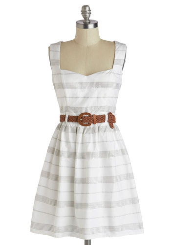 At the Heart of It Dress - White, Grey, Stripes, Cutout, Belted, Casual, Tank top (2 thick straps), Sweetheart, A-line