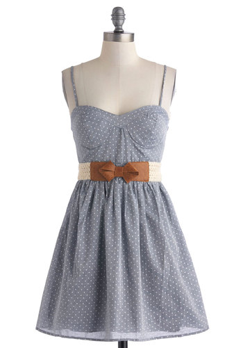 Charm on the Farm Dress - Blue, White, Polka Dots, Belted, Casual, Spaghetti Straps, Sweetheart, A-line, Summer, Cotton