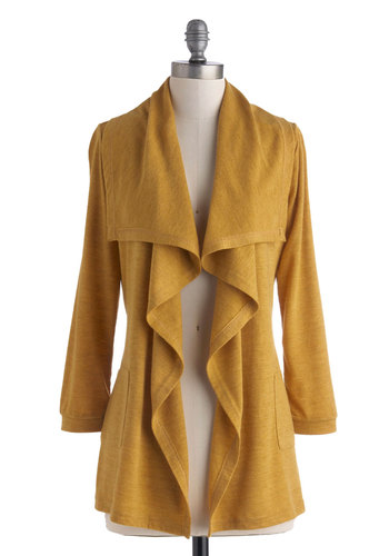 Just Frillin' Time Cardigan - Tan, Solid, Casual, Long Sleeve, Mid-length, Pockets, Fall