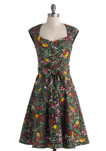 What a Tweet! Dress - Floral, Cotton, Print with Animals, Belted, Daytime Party, A-line, Cap Sleeves, Sweetheart, Vintage Inspired, 50s, Fit & Flare, Spring, Work, Long, Multi, Red, Yellow, Green, Show On Featured Sale, Bird, Woodland Creature