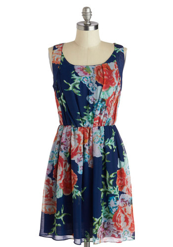 Pixel of Perfection Dress - Mid-length, Blue, Multi, Floral, Casual, A-line, Scoop, Daytime Party, Sleeveless, Spring, Summer