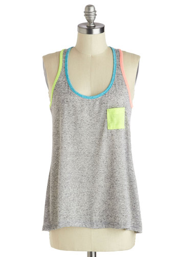 Shades of Play Tank - Mid-length, Sheer, Grey, Casual, Beach/Resort, 80s, Tank top (2 thick straps), Summer