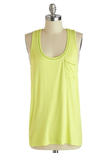 Night and Day Off Tank - Mid-length, Yellow, Solid, Pockets, Casual, Beach/Resort, Travel, Neon, Racerback, Summer, Jersey, Scoop