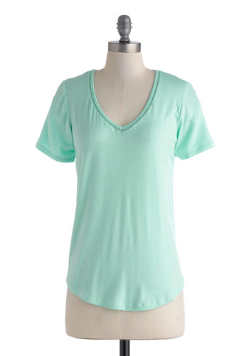 Breeze Into It Top in Mint - Mid-length, Jersey, Mint, Solid, Casual, Pastel, Minimal, Short Sleeves, Variation, V Neck