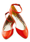 Sweet Soiree Flat in Candy Apple - Orange, Solid, Flat, Casual, Daytime Party, Minimal, Variation