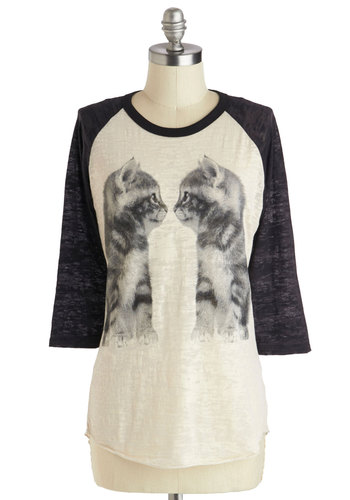 Who You Lookin' Cat? Top - Mid-length, Jersey, Sheer, White, Black, Print with Animals, Casual, 3/4 Sleeve, Cats, Halloween, White, 3/4 Sleeve