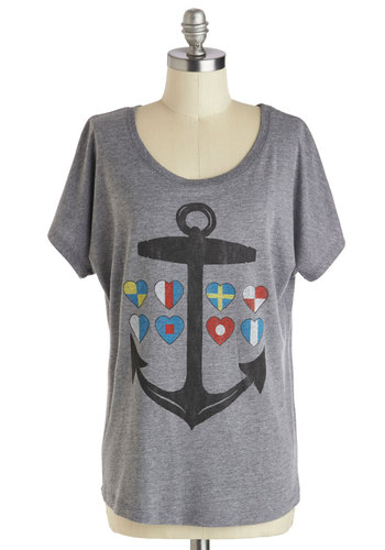 A Yacht to Love Tee - Mid-length, Jersey, Grey, Novelty Print, Casual, Nautical, Short Sleeves, Grey, Short Sleeve, Spring, Summer
