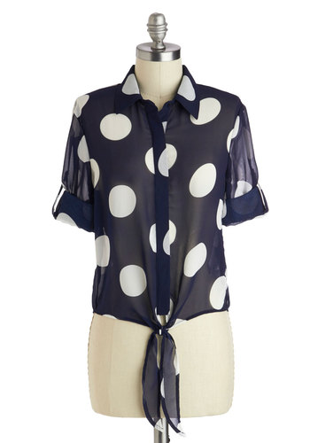 Street Style Spotlight Top - Short, Sheer, Blue, White, Polka Dots, Buttons, Vintage Inspired, Collared, Casual, 50s, Button Down, Short Sleeves, Spring, Summer, Blue, Tab Sleeve