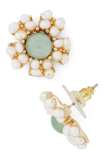 Reach for the Moonflower Earring - White, Mint, Solid, Flower, Pearls, Special Occasion, Prom, Wedding, Party, Cocktail, Bridesmaid, Bride, Gold, Top Rated