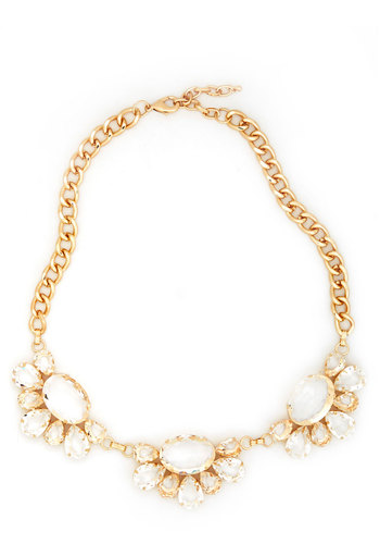 Seeing Bauble Necklace - Solid, Statement, White, Gold, Rhinestones, Formal, Prom, Wedding, Party, Cocktail, Bride, Luxe