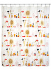 Morning Primp Shower Curtain - Cotton, Multi, White, Novelty Print, Better