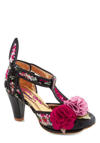 Pink Flamenco Heel by Irregular Choice - Mid, Faux Leather, Party, Cocktail, Statement, Spring, International Designer, Pink, Best, T-Strap, Floral